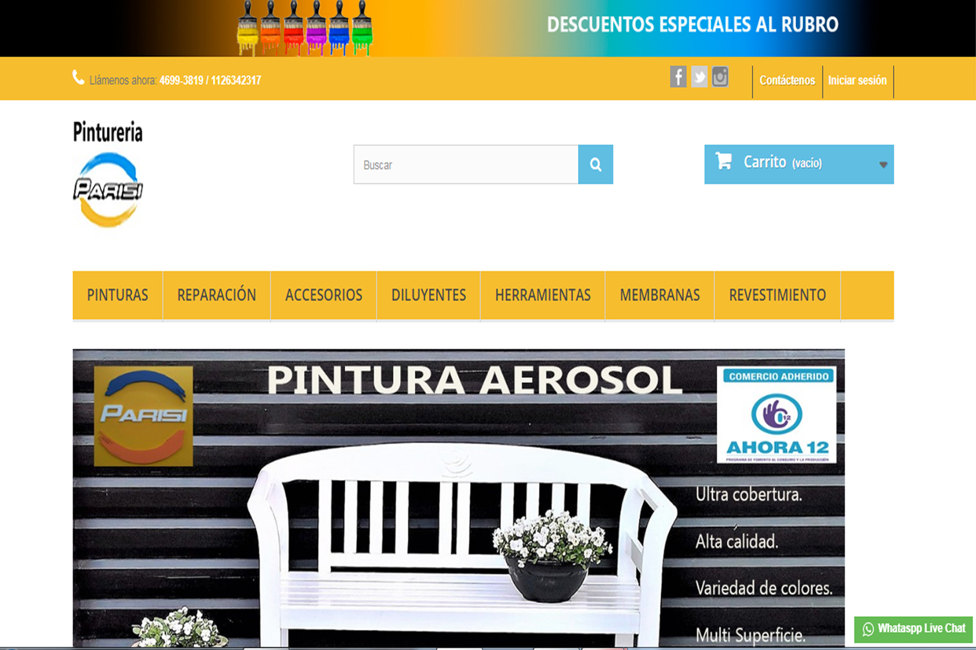 Website Pintureria Parisi